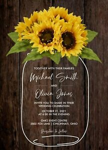 Rustic Country Sunflower Mason Jar Wood Wedding Invitations 50 Each