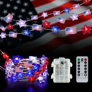 4th of July Decoration Lights, 13Ft 40LED Red White Blue Stars and American F...