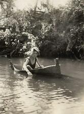 Photo. 1920s. Kelmscott, Australia.  Man in Canoe