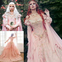Medieval Blush Fairy Princess Bridal Wedding Dress Off-Shoulder Wedding Gowns