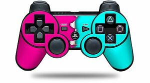 Skin for PS3 Controller Ripped Colors Hot Pink Neon Teal CONTROLLER NOT INC