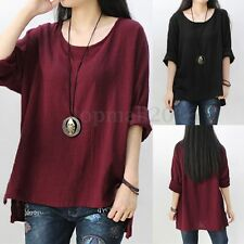 Zanzea AU 8-24 Women Boho Crewneck Long Sleeve Baggy Casual Tops T-Shirt Blouse