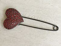 Unique Vintage Style Safety  Heart Pin  Brooch  in Pewter tone  metal
