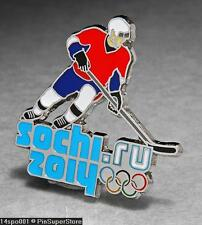 OLYMPIC PINS BADGE 2014 SOCHI RUSSIA CUT OUT SPORT OF ICE HOCKEY PLAYER (SILVER)