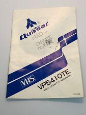 Quasar VP5410TE Video Cassette Recorder Manual