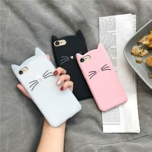 Iphone Cat 3D Cute Case 7 8 X Plus Flexible Protective Ears Silicone Feline TPU