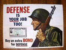 Authentic 1951 Defense Is Your Job Too!  Buy Bonds Propaganda Poster