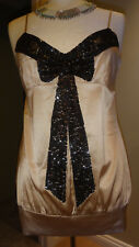 Gorgeous Blanc 100% Pure Silk Sequins Encrusted Top Size 12
