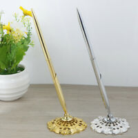 Gold Silver Feather style Guest Book Signing Pen Wedding Party Table De BS