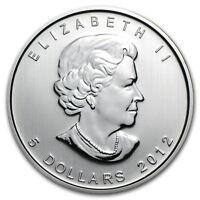 2012 $5 Silver Canadian Maple Leaf 1 oz Brilliant Uncirculated