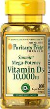 Puritan's Pride Vitamin D3 10,000 IU Mega Potency 100 Softgels * NEW *