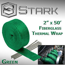 "2"" x 50FT Exhaust Header Fiberglass Heat Wrap Tape w/ 5 Steel Ties - Green (X)"