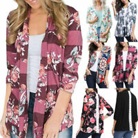 Women Floral Printing Tops Open Front Lace Patchwork Coats Casual Cardigan Tees