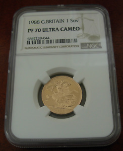Great Britain 1988 Gold 1 Sovereign Pound NGC PF70UC