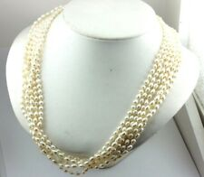 "18k yellow gold Italian clasp 24"" freshwater pearl multi-strand necklace estate"