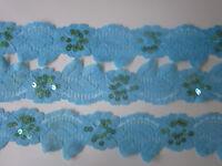 2 Meter Spitze Hellblau 4,5cm breit elastisch Borte #L008