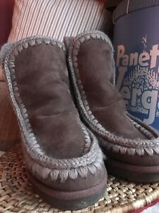 MOU 💓 INNER WEDGE SHEEPSKIN WINTER BOOTS Size 37 / 4 Used Once