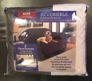 Reversible Sofa Furniture Protective Brown/ Beige Storage Pocket New