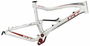 "GT Sensor 1.0 26"" Alloy Dual Suspension Frame Medium 120mm White w Black-Red New"