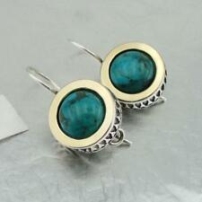 Hadar Designers Classy Handmade 9k Yellow Gold 925 Silver Turquoise Earrings(Ms