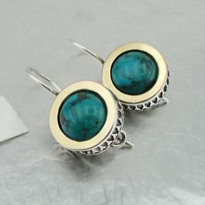 Hadar Designers Classy Handmade 9k Yellow Gold 925 Silver Turquoise Earrings(Ms