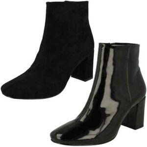 Ladies Spot On Blocked Heel Ankle Boots