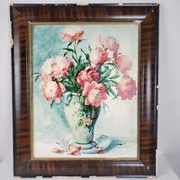 Vintage Still Life Roses Flowers in Vase Print in Chippy Antique Frame 21x25
