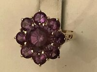 14k Yellow Gold Round Amethyst Cluster Ring Size 6 3/4 - 4.4 Grams