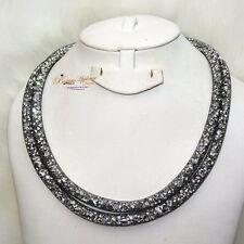 Lungo grigio Made with Swarovski Element Stardust Cristallo Collana Chiusura Magnetica