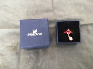 Swarovski Ring Size 55 Red with dangle clear crystal