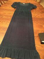 Vtg 1980's Susan Fair Juniors Maxi Length Dress Green Velvet 1980's - ue