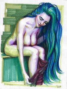 original drawing 23,5 x 30 cm 275ShA art markers modern female nude is sitting