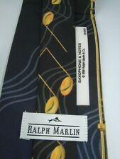 RALPH MARLIN POLY CRAVATTA TIE KRAVATTE MADE IN USA 1998 SAXOPHONE & NOTES MUSIC
