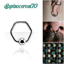 Piercings Aro Ring septum Hexágono. puente nasal, lóbulo, pezón Stainless Steel
