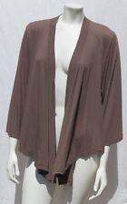 3 THREE DOTS USA Brown Soft Stretch Drape ¾ Sleeve Tee Shirt Wrap Top size L