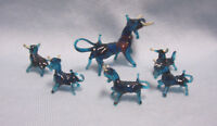 MINIATURE FIGURINES Collectible Teal Blown Glass Vintage (6) Bull Figurines