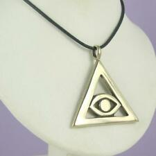 MEN'S EYE OF HORUS Bronze Pendant Necklace Leather Cord EGYPTIAN