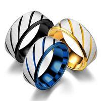 Edelstahl Ring Männer Frauen Mode Schmuck Schwarz Blau Gold Größe 6-12