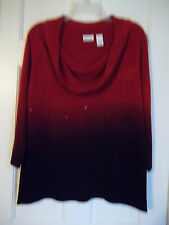 KIM ROGERS LADIES L. PULLOVER LIGHTWEIGHT SWEATER COWL NECK 3/4 SLEEVES SEQUINS
