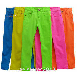 Girls Denim Jeans Skinny Pants Fluorescent Neon Slim Fit Stretch Trousers Age 4Y