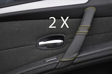 YELLOW STITCH FITS BMW  E60 E61 07-11 FACELIFT 2X REAR DOOR HANDLE COVERS