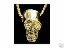 LOOK Sterling Silver Skull Pendant Charm Gothic Gold Plated