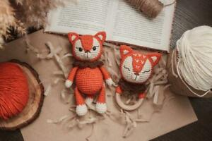 Gift set for babies, newborns, knitted toy + rattle, fox