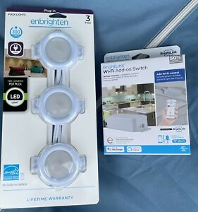 Enbrighten Puck Lights 3-pack Plug White LED with WiFi Module Smart Home