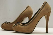 GENUINE ladies womens brown suede platform party shoes Size 6 EU 39