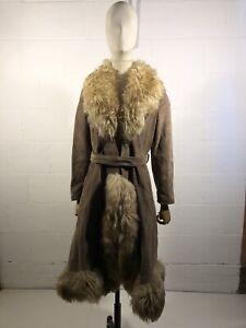 Vintage Women's Shearling Sheepskin Lambskin Afghan Mongolian Long Coat Fur