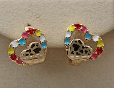 18K Gold Filled - Laser Carved Double Heart Hollow Multicolor Ball Lady Earrings