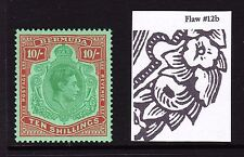 BERMUDA 1938-53 10/- GREEN & DULL RED PERF 13 WITH FLAW 12b SG 119f MNH.