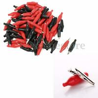 100x Red & Black Alligator Leads Test Clip for Electrical Jumper Wire Cable 28mm
