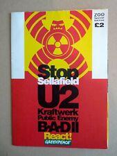 U2  RARE PROGRAMME Sellafield 1992 Greenpeace POSTER Program